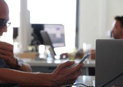 Developer working at Dedicated Desk